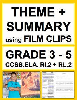 Theme, Main Idea & Summary using FILM: NO PREP Lesson Plan & Student Handouts: Use film clips to teach students theme, summary and main idea when reading literature and informational texts: Introduce, Practice & Assess: CCSS.ELA.RI.2 & CCSS.RL.2 (GRADES 3 - 5)! Perfect for reluctant readers and students with disabilities. Common Core ELA Test Prep is FUN with VIDEO CLIP ACTIVITIES! CURE FOR DISENGAGED STUDENTS & RELUCTANT READERS! Why use boring texts when you can use pixar shorts and video…