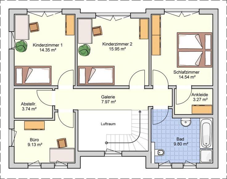 Einfamilienhaus grundriss 3 kinderzimmer  203 besten # Haus # Grundrisse Ideen Bilder auf Pinterest ...
