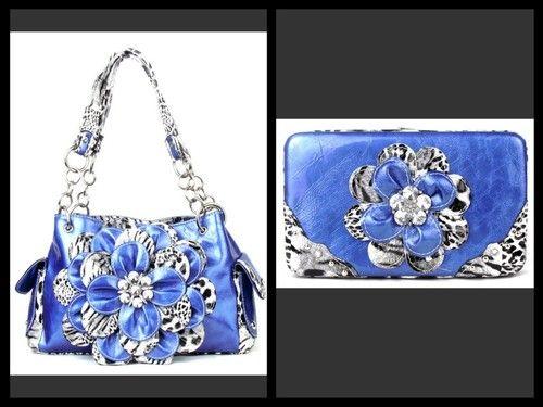 Blue Rhinestone Cheetah Flower Western Bling Purse Handbag Flat Wallet Set | eBay