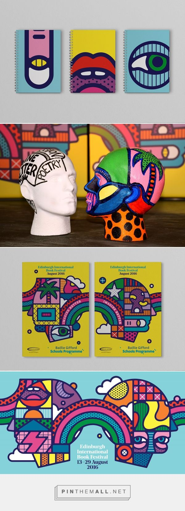 """Craig & Karl and Tangent's psychedelic identity for Edinburgh International Book Festival - """"By loosely following this visual language [of psychedelia and psychedelic art], we could set a tone that was celebratory and bright with a 'festival feel' but had a sense of depth suitable for much of the Book Festival's subject matter,"""" says Tangent creative director David Whyte."""""""