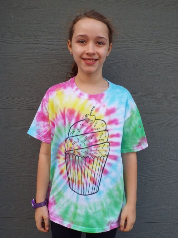 This unique tie dye cupcake tshirt would make the perfect birthday shirt for any tween. From Anything on a Tie Dye at Creations by Maris https://www.etsy.com/listing/263946890/kids-tie-dye-cupcake-shirt-kids-l-girls
