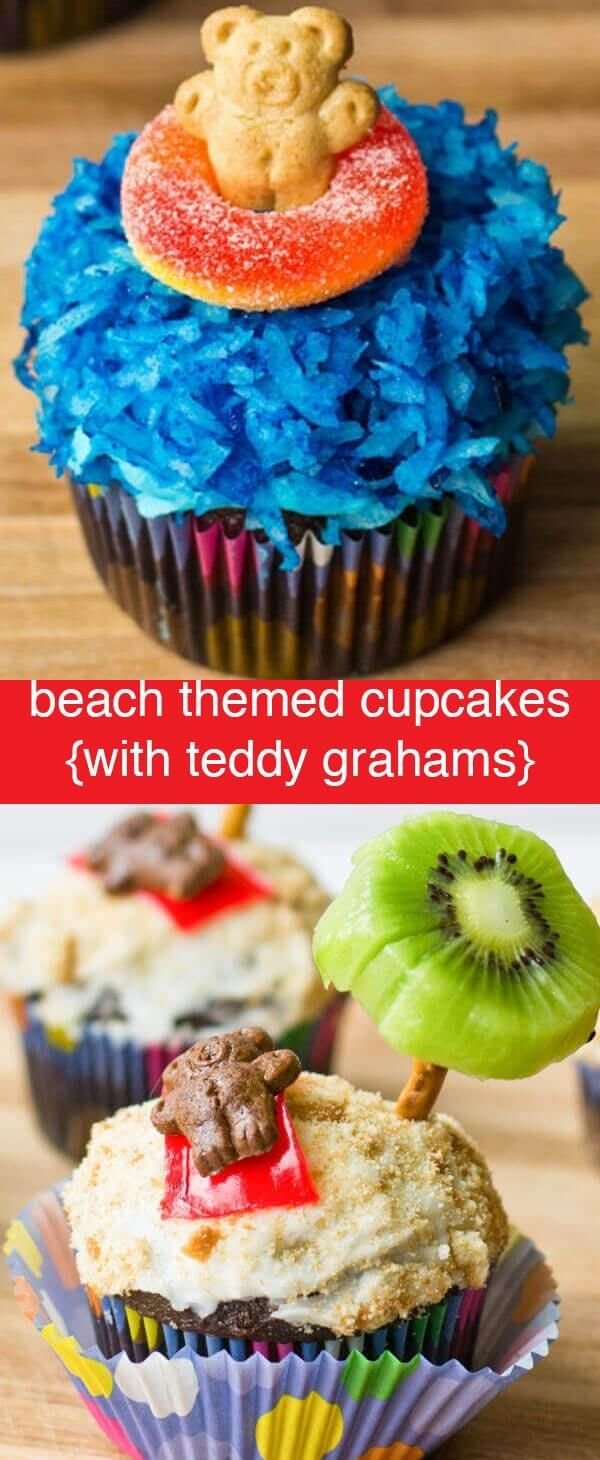 Having a beach party? You'll love these teddy graham beach themed cupcake recipe ideas. Fun edible crafts for kids! Beach Themed Cupcakes {Cute Teddy Graham Cupcake Recipe Ideas} via @tastesoflizzyt