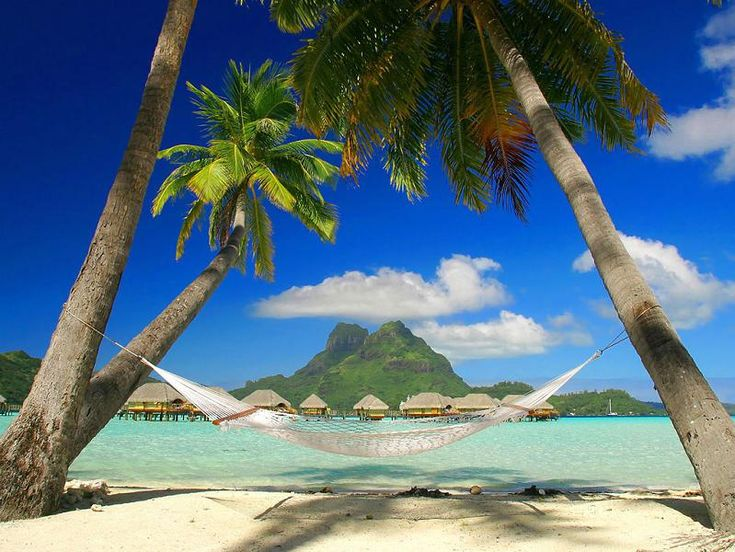 Bora Bora is perhaps the closest we'll get to Heaven on Earth. Located about 260 kilometers (160 miles) northwest of Tahiti, Bora Bora is part of the Society Islands of French Polynesia, an overseas territory of France claimed in 1843. With a land area of 44 sq km (16.9 sq miles) and a population under [...]Dreams, Hammocks, Cayman Islands, French Polynesia, Best Quality, Places, Borabora, Tropical Beach, Destination
