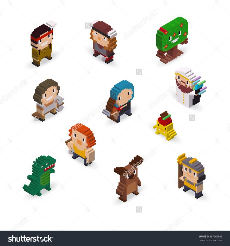 Isometric Pixel Art Fantasy Characters With Archer, Warriors, Mage, And Monsters Stock Vector Illustration 367269896 : Shutterstock