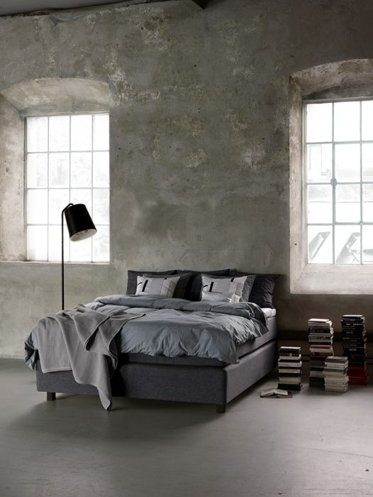 Bedroom In Grey - kind of sterile. Definitely dont have this much space. But I like it in an artsy kind of way!