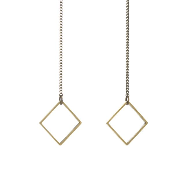 Brass Drop Earrings with Brass Square