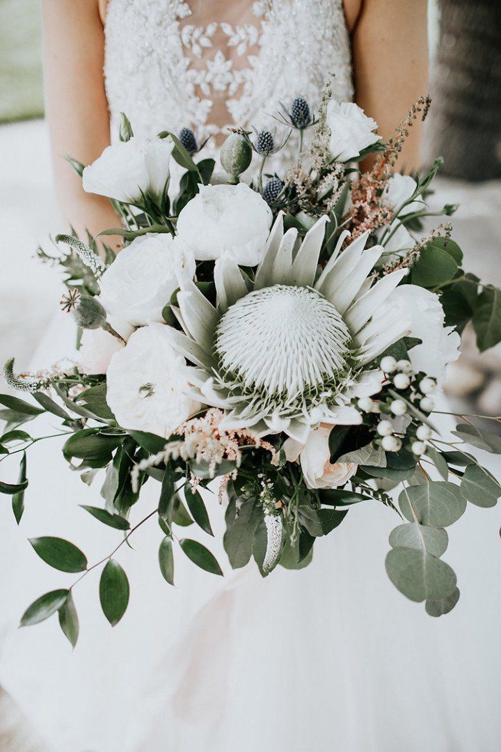 20 King Protea Bouquets That Are Bold And Beautiful White Wedding Bouquets Wedding Flower Trends Protea Wedding