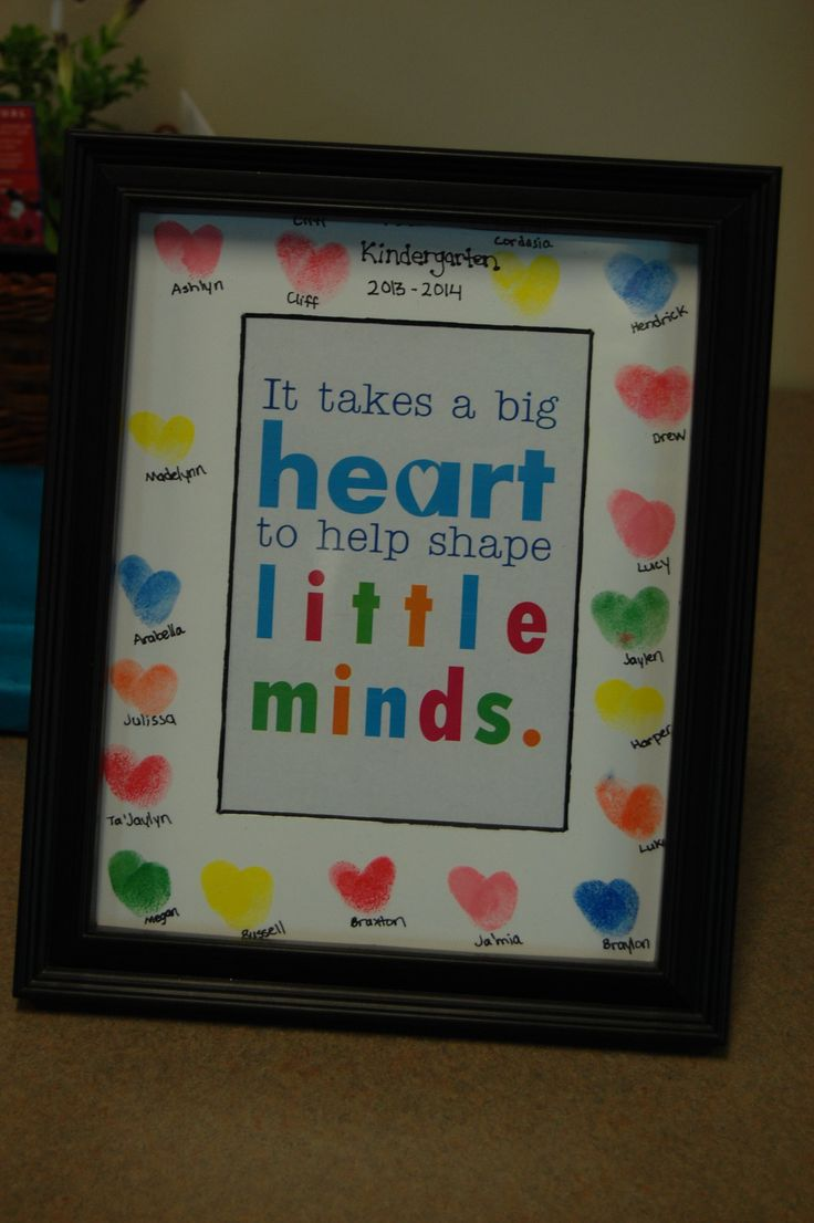 Heart thumbprints make a cute picture frame for the end of the year present for Kindergarten teachers from the class. Room mom idea.