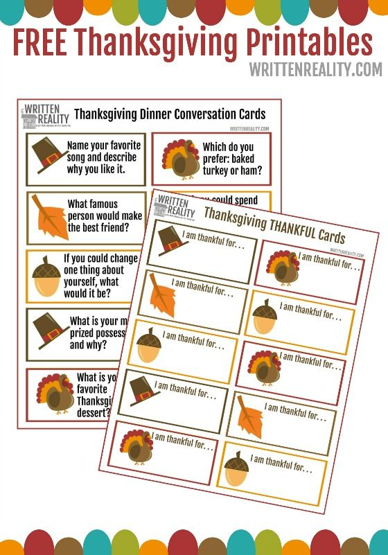 Thanksgiving Day Dinner Game Cards FREE Printable for Fall Fun!!: