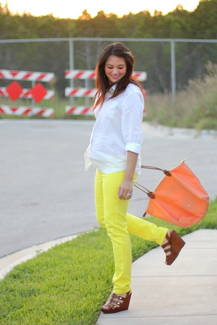 Indiana of Adored Austin in Francesca's Collections Neon colored denim