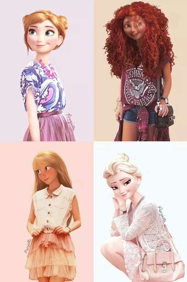 More modern day Disney and Dreamworks icons  -Elsa,Merida,Rapuzen and Anna-