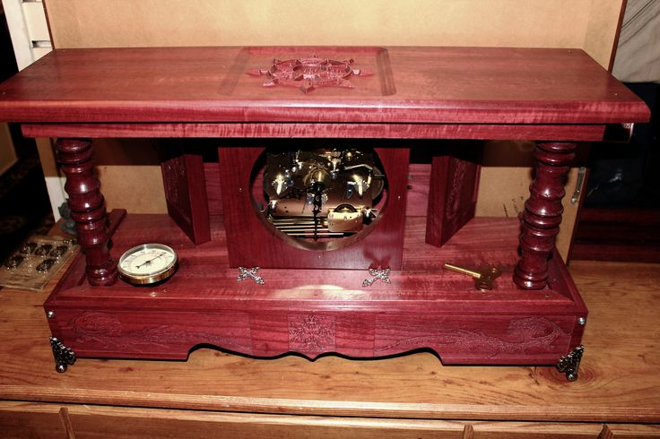 Steam punk inspired mantel clock constructed with purple heart lumber.