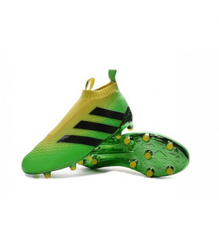 Acheter Adidas Ace16+ Purecontrol FG/AG Chaussures de Football Pour Homme Solar Vert Jaune Noir - Jeux Olympiques Brésil pas cher en ligne 129,00€ sur http://cramponsdefootdiscount.com