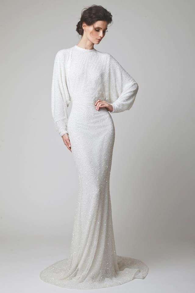 This to wear in the evening after the wedding service and dinner. More relaxed but very glamorous and bridal.