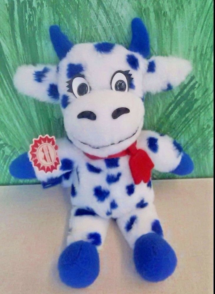 "VTG Polka Dot Dairy Advertising Plush Cow Animal Fair Eden Prairie 15"" #AnimalFair"