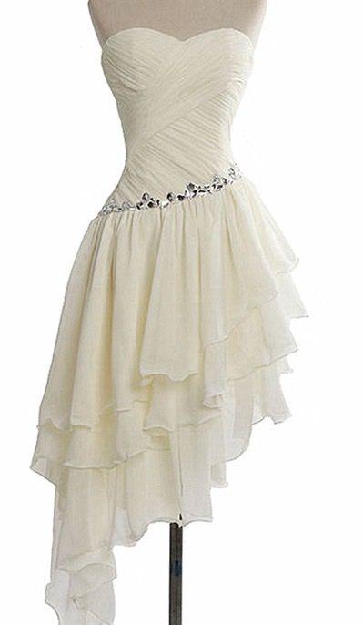 Ivory Prom Dress,Chiffon Prom Dress