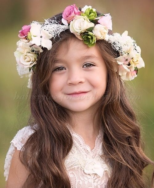 Flower Girl Hairstyle With Floral Halo Flower Girl