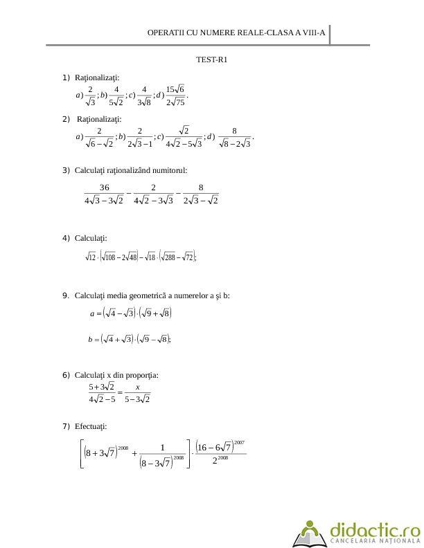 TEST-OPERATII CU NUMERE REALE   monica_bodnar2000   22.10.2013