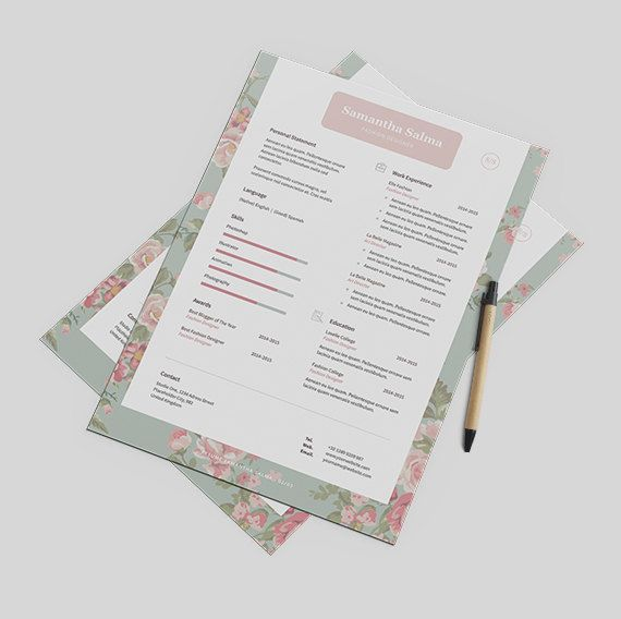Floral Resume Template Instant Download  Cover Letter by papernoon