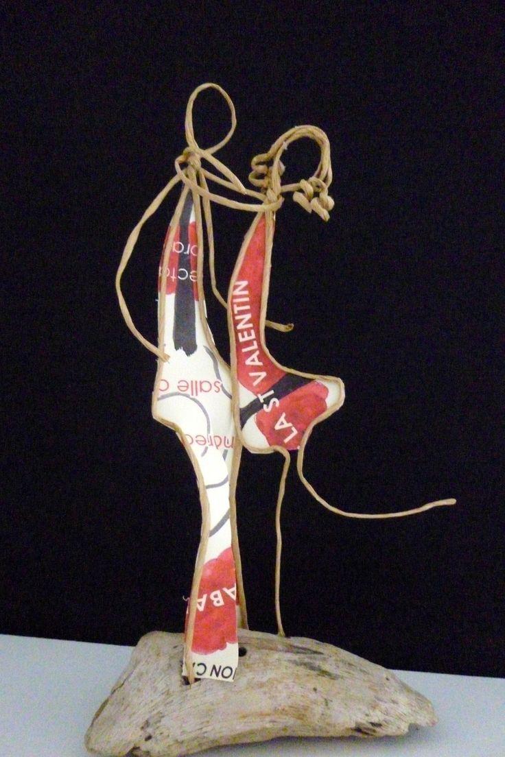 Couple d'amoureux - figurines en ficelle de kraft armé et papiers originaux : Accessoires de maison par ficelleetpapier