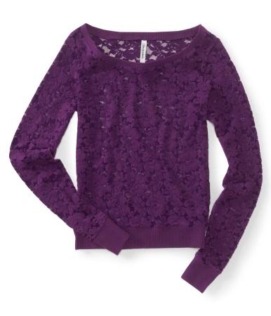 Flocked Lace Crew Sweatshirt