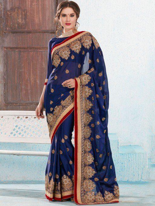 Blue Satin Chiffon Saree with Embroidery Work