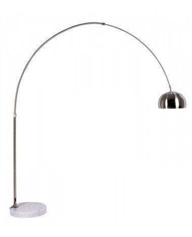Lampara de pie de diseño con estructura de tubo redondo y cromado y base de…
