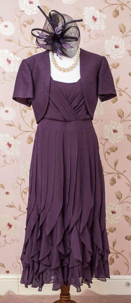 BNWT Jacques Vert Mother Bride Grape Purple Dress Bolero