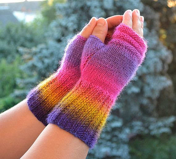 fingerless gloves knitted mittens gloves in purple by DosiakStyle