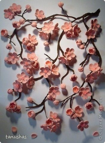 Картина, рисунок, панно, Мастер-класс Квиллинг: Сакура + мини МК Бумажные полосы. Фото 1