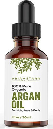 awesome Aria Starr Beauty ORGANIC Argan Oil For Hair, Skin, Face, Nails, Cuticles & Beard- Best 100% Pure Moroccan Anti-Aging, Anti-Wrinkle Beauty Secret,EcoCert Certified Cold Pressed Moisturizer 1 OZ