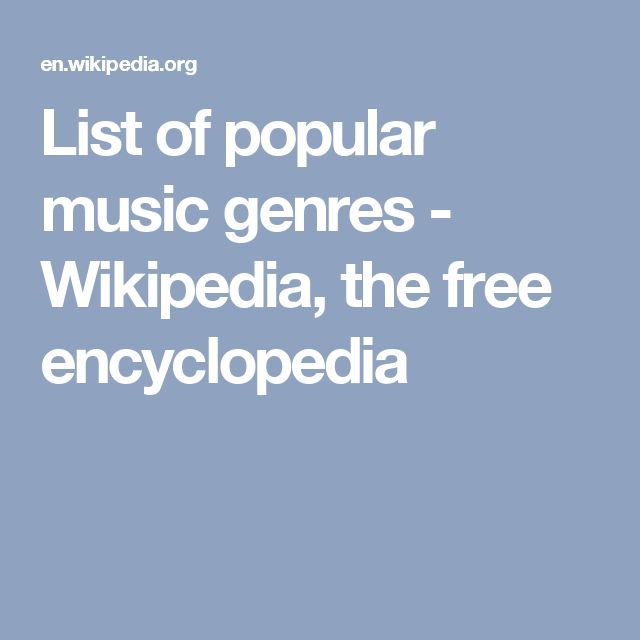 List of popular music genres - Wikipedia, the free encyclopedia