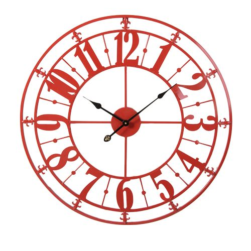 Clocks :: Indoor Wall Clocks :: French Provincial :: Distressed Metal Wall Decor Clock Red -
