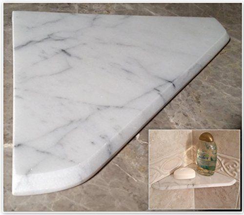 "8"" Marble Shower Corner Shelf (Carrara Milano) Stone Bathroom Caddy Bath Soap Dish Stone Zone"