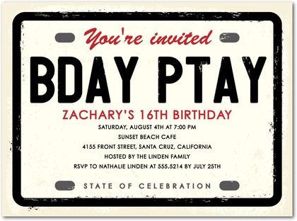 License Plate - Birthday Party Invitations in Ecru | Hello Little One