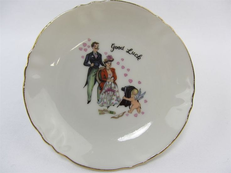 "Nascoware Small Dish. Nascoware logo is not on it. White with couple having a picture taken by Cupid. Loving hearts floating all around. ""Good Luck"". approx 4.25"" round. Night Market Item Details Doing that is against U.S. and international laws. 