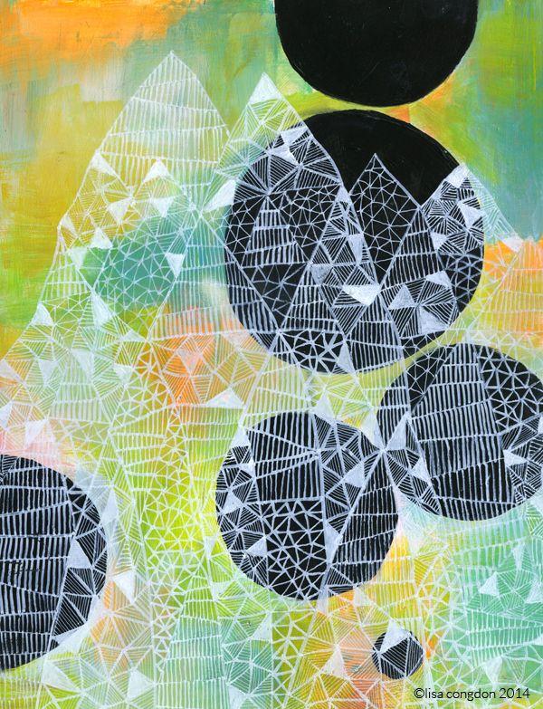 Lisa Congdon - Ghost Mountain, acrylic on masonite panel #doodling