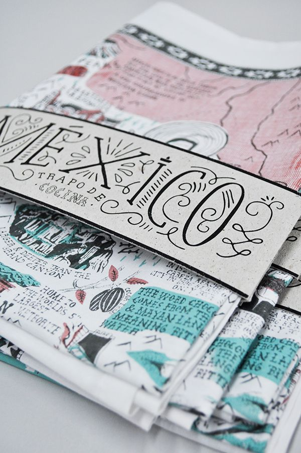 lettering, packaging, colour, mexico, map, tea towel, type, design, typography