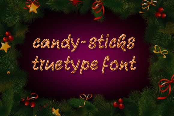 Candy-Sticks TrueType Font by alphadesign on @creativemarket