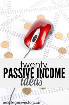 Looking to start earning some passive income? Here are twenty passive income ideas to choose from. Some require a monetary investment while others require time. Which one is your favorite? http://thecollegeinvestor.com/16399/20-passive-income-ideas/ Ways to make money, make extra money, make more money