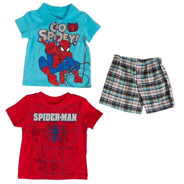 Spier- Man Polo with Graphic T-Shirt & Shorts (12-24 months)