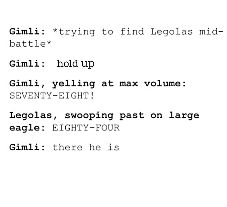 Legolas and Gimli keep score