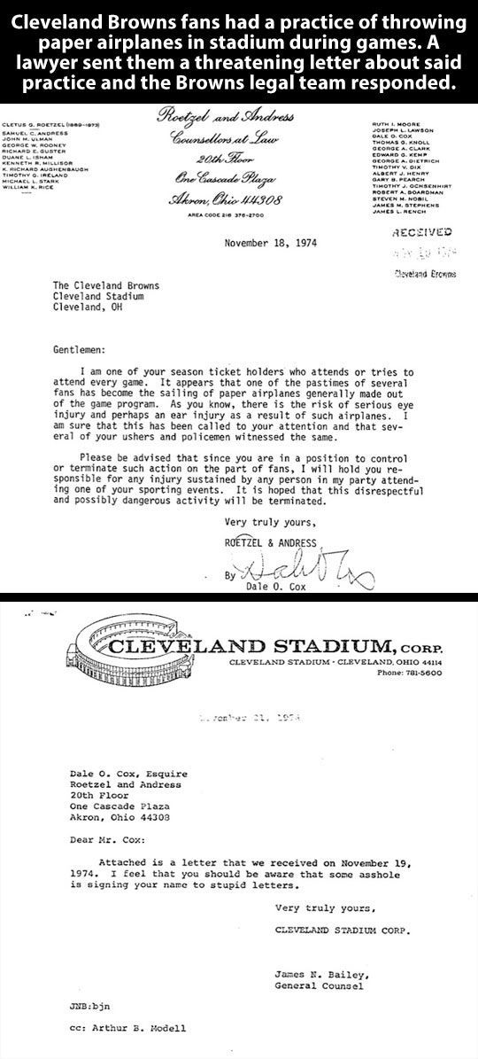 Cleveland Browns respond to a ridiculous request… go browns!
