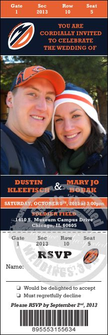 chicago bears themed wedding | Sports Themed Weddings - NFL Football Wedding Ticket Invitation ...