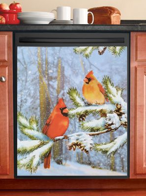 Cardinals In Snow Kitchen Dishwasher Magnet Discover