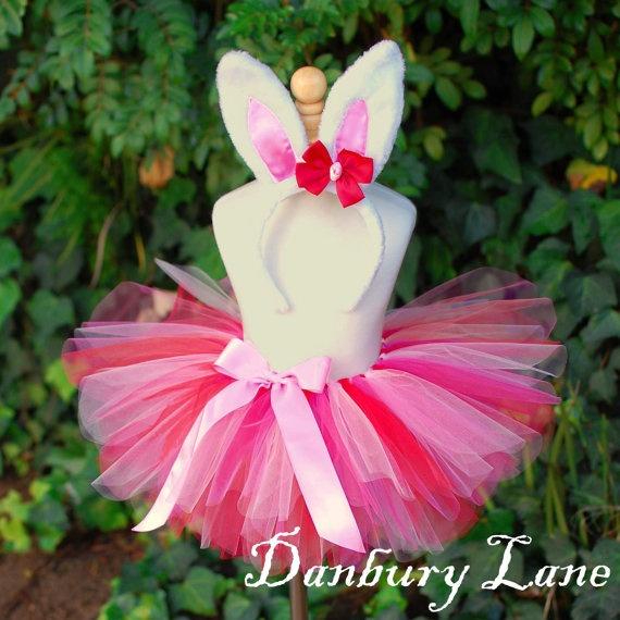 Baby Bunny Tutu Costume girls pink and red Easter by DanburyLane, $26.95