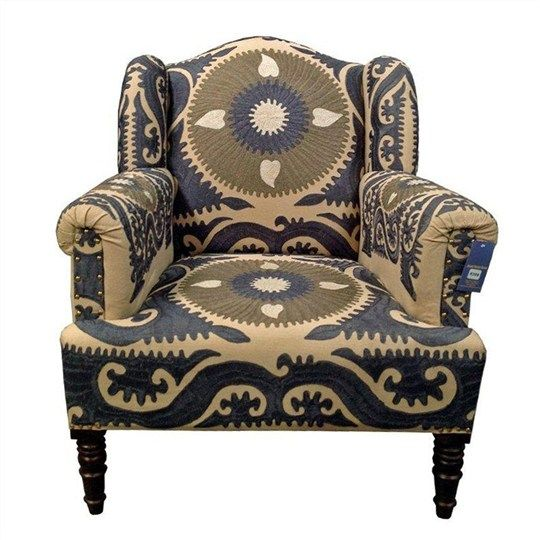 Hisar Embroidered Cotton Armchair - Living Room Chairs - Living Room