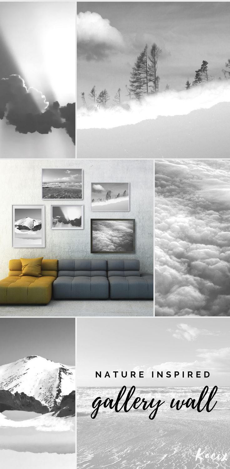 Create a modern nature inspired gallery wall with quiet and tranquil  scenes.  #blackandwhite #blackandwhitephotography #gallerywall  #naturelover #kacixart