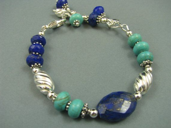 Lapis Lazuli, Turquoise GENUINE Gemstone, Sterling Silver, Bali Silver Artisan Bracelet via Etsy