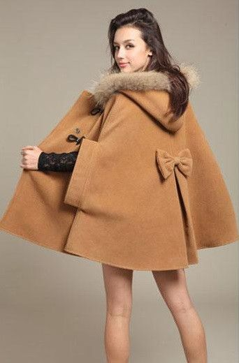 - Product Type: Coats - Size Type: Regular - Length: Full_Length - Gender: Women Material: Wool Blend / Faux Fur - Style: Princess Poncho - Item Code: BK622533471Camel - Size : S , M , L , XL - Packag